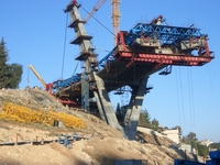 Erection Machine on Pylon 1 at the Wadi-Abloun-Stay-Cable-Bridge in Jordan / Amman